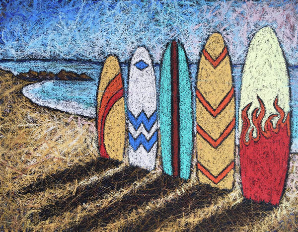 Wall Art - Painting - Surfboard Line Up by Karla Beatty
