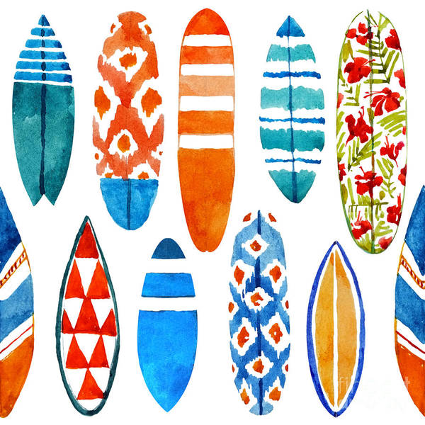 Ride Digital Art - Surfboard Watercolor Seamless Pattern by Nicetoseeya