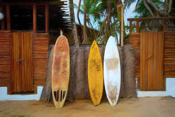 Photograph - Surfboards Island Style Oil Painting by Debra and Dave Vanderlaan