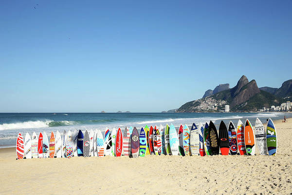 Surfing Photograph - Surfboards On Beach by Joe Scarnici