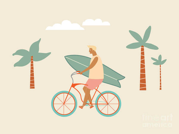 Bicyclist Wall Art - Digital Art - Surfer Bicycle Rider With Surfboard On by Nicetoseeya