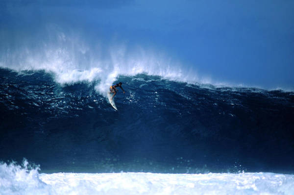 Big Island Photograph - Surfer Dropping In At Big Pipeline by Drewhadley