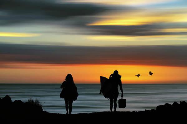 Big Island Digital Art - Surfer Girls Silhouette by Christopher Johnson
