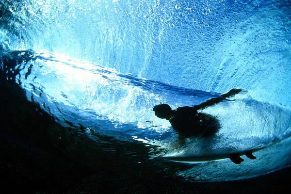 Underwater Photograph - Surfer Riding Wave, Underwater View by Warren Bolster