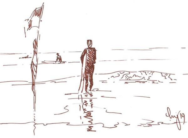Drawing - Surfer Standing In Shallow Water On A Flat Day With No Waves In The Sea by Mike Jory