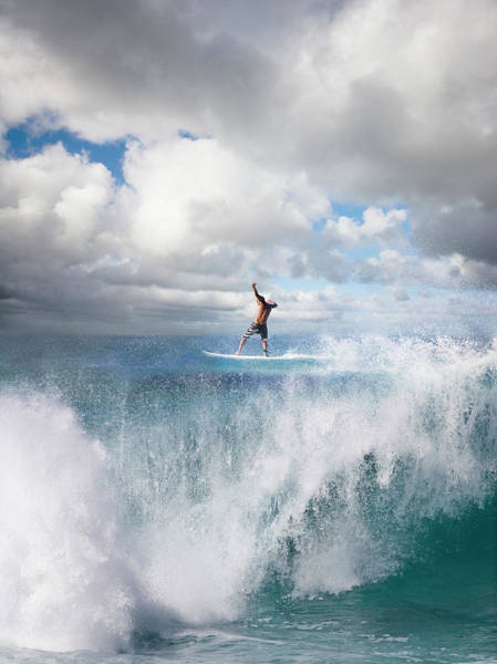 Surfer Surfing On Wave, Rear View Art Print