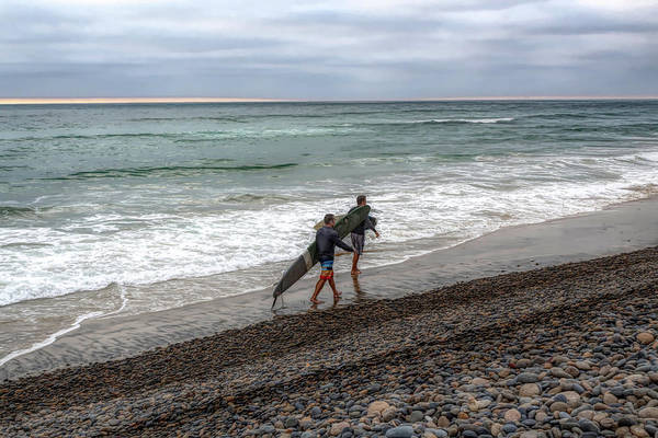 Photograph - Surfers In Carlsbad by Alison Frank