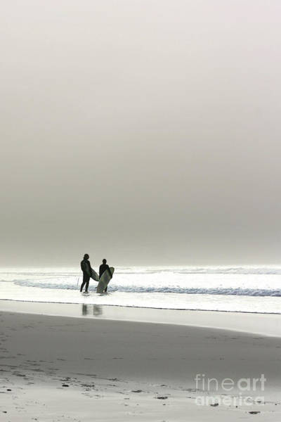 Sennen Cove Photograph - Surfers In The Mist by Terri Waters