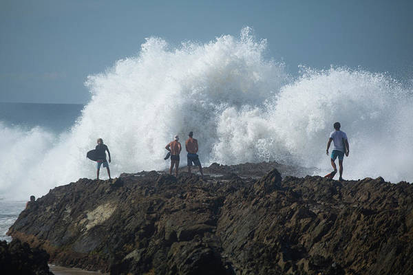 Bodyboard Photograph - Surfers On The Beach, Coral Sea by Panoramic Images