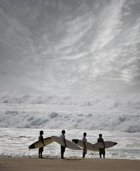 Photograph - Surfers With Surfboard On Beach by Ed Freeman