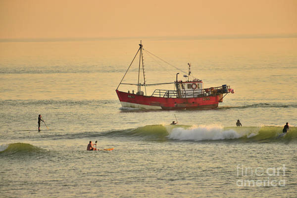 Photograph - Surfing At Dusk Ij Aberystwyth by Keith Morris