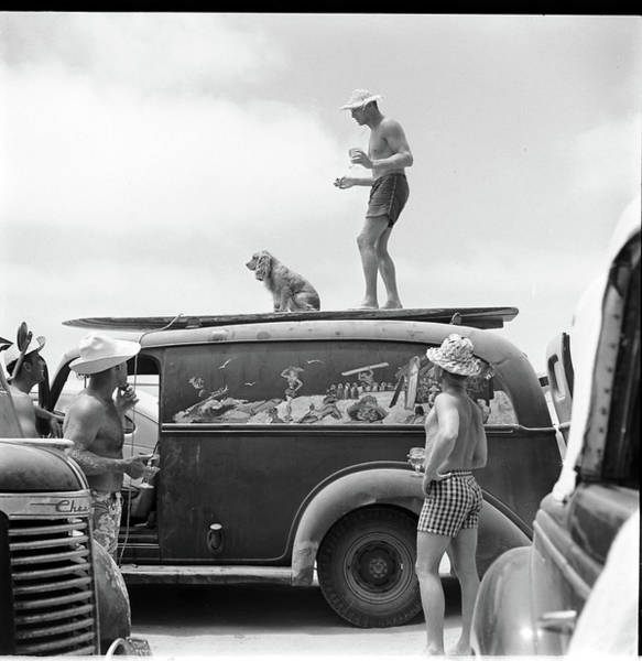 Photograph - Surfing Beach Bums, Including One Man by Loomis Dean