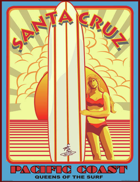 Wall Art - Digital Art - Surfing Pacific Coast Santa Cruz California by Larry Butterworth