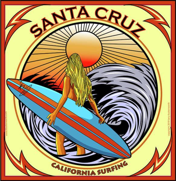 Wall Art - Digital Art - Surfing Santa Cruz California by Larry Butterworth