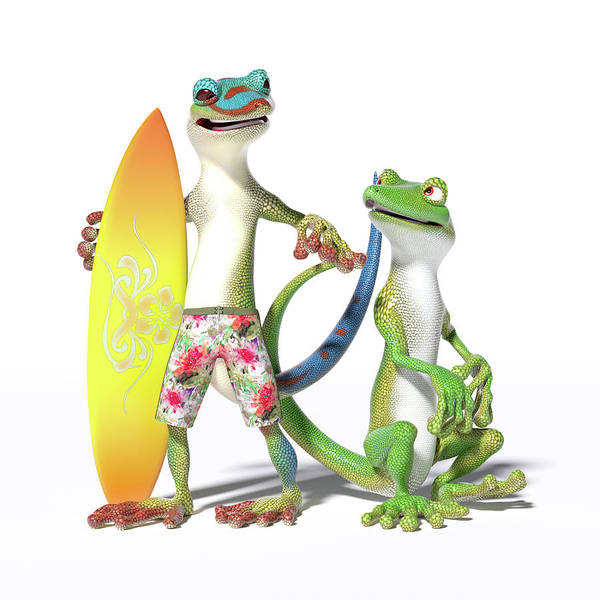 Wall Art - Digital Art - Surf's Up Geckos by Betsy Knapp