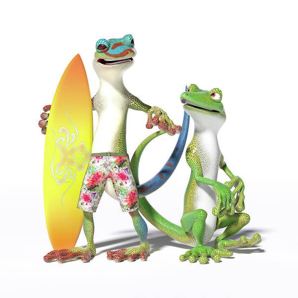 Gecko Wall Art - Digital Art - Surf's Up Geckos by Betsy Knapp