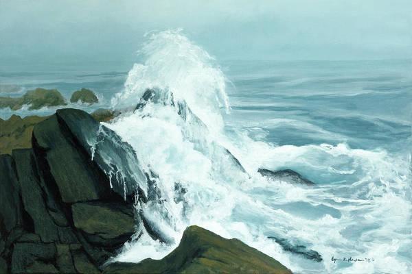 Painting - Surging Waves Break On Rocks by Lynn Hansen