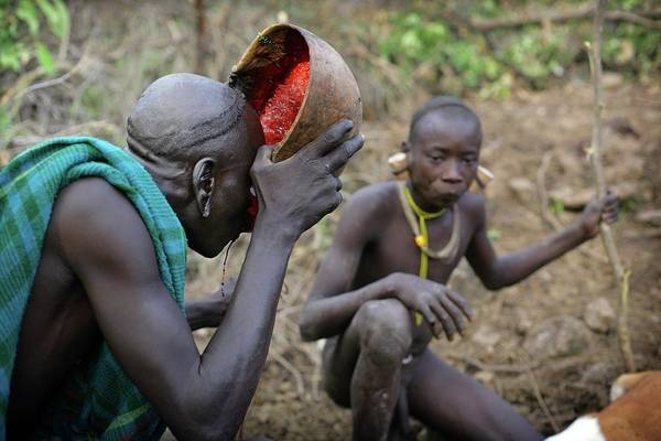 Real People Photograph - Suri Tribal Warrior Drinks Cow Blood by Timothy Allen
