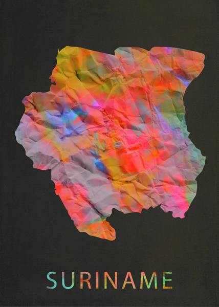Wall Art - Mixed Media - Suriname Tie Dye Country Map by Design Turnpike
