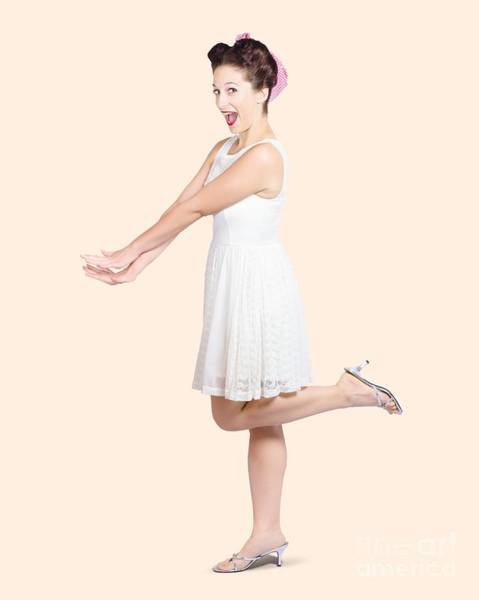 Vivacious Wall Art - Photograph - Surprised Housewife Kicking Up Leg In White Dress by Jorgo Photography - Wall Art Gallery