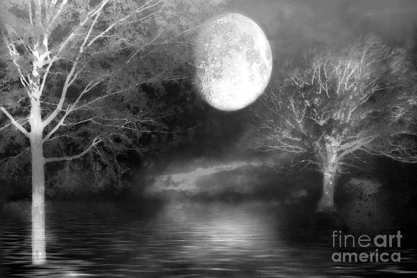Wall Art - Digital Art - Surreal Black White Moon Nature Print - Black And White Fantasy Haunting Moon Nature Wall Art by Kathy Fornal