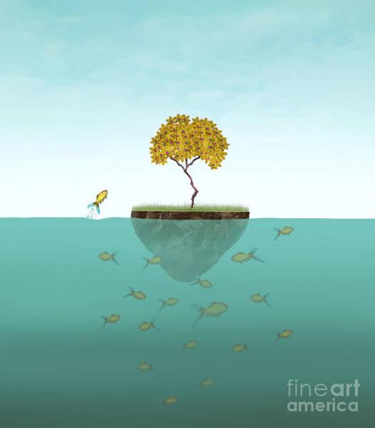 Surreal Illustration Of A Little Island Art Print