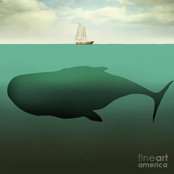Surreal Illustration Of Little Sailboat Art Print by Valentina Photos