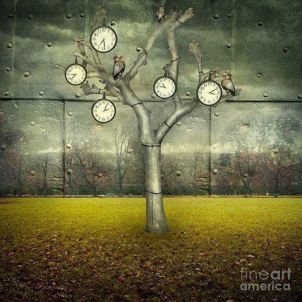 Wall Art - Digital Art - Surreal Illustration Of Many Clock And by Valentina Photos