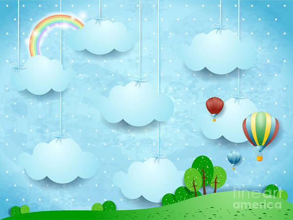 Air Balloon Wall Art - Digital Art - Surreal Landscape With Hanging Clouds by Luisa Venturoli