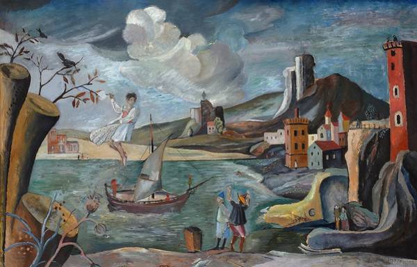 Wall Art - Painting - Surreal Landscape With People by Bertil Noren
