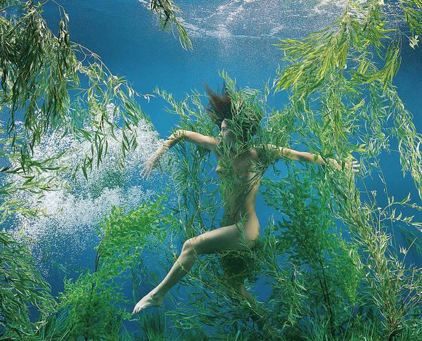Underwater Photograph - Surreal Mermaid Girl In Underwater by Patrizia Savarese