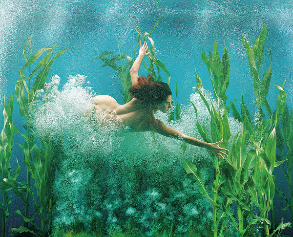 Underwater Diving Photograph - Surreal Mermaid Girl Underwater by Patrizia Savarese