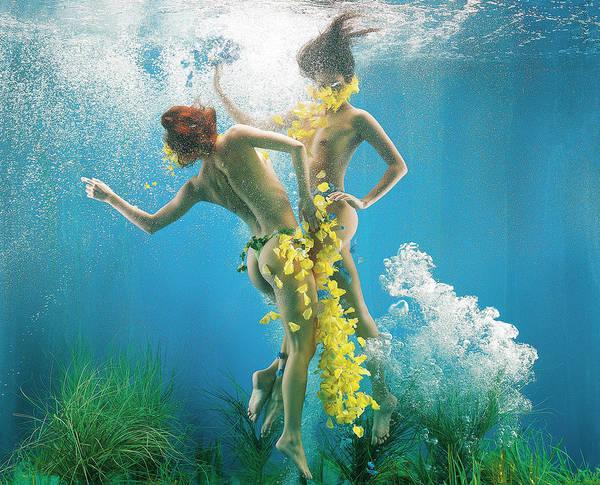 Underwater Photograph - Surreal Mermaid Girls In Underwater by Patrizia Savarese