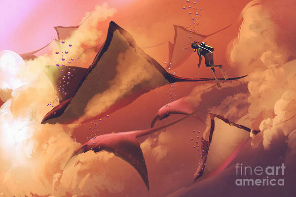 Wall Art - Digital Art - Surreal World Concept Showing Diver And by Tithi Luadthong