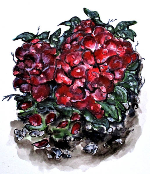 Painting - Survivor Rose Bush by Clyde J Kell