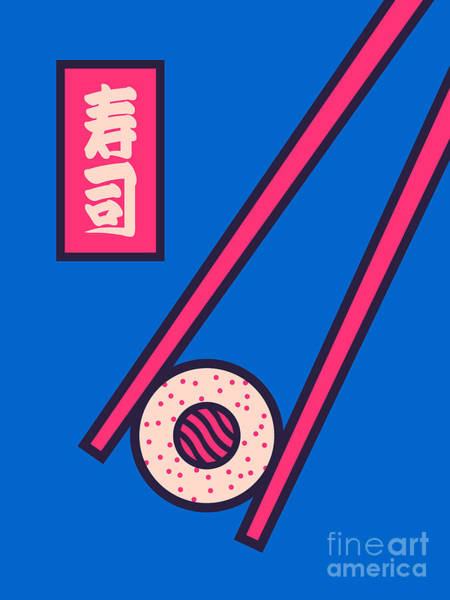 Wall Art - Digital Art - Sushi Minimal Japanese Food Chopsticks - Blue by Ivan Krpan