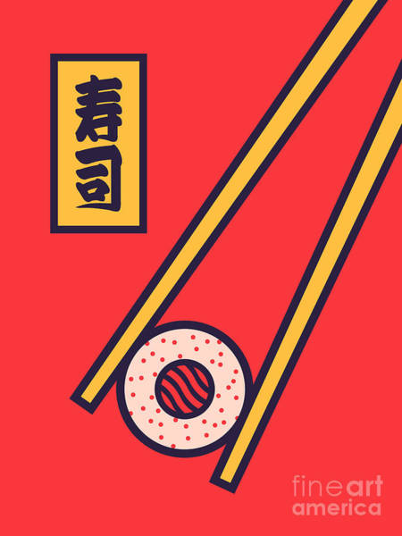 Wall Art - Digital Art - Sushi Minimal Japanese Food Chopsticks - Red by Ivan Krpan