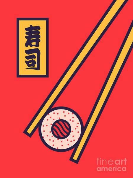Sushi Wall Art - Digital Art - Sushi Minimal Japanese Food Chopsticks - Red by Ivan Krpan