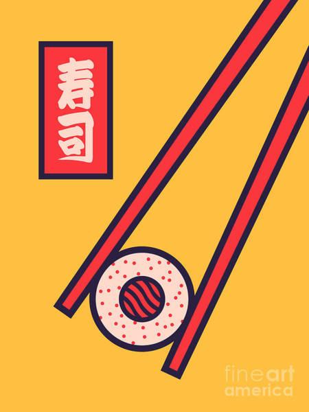 Sushi Wall Art - Digital Art - Sushi Minimal Japanese Food Chopsticks - Yellow by Ivan Krpan