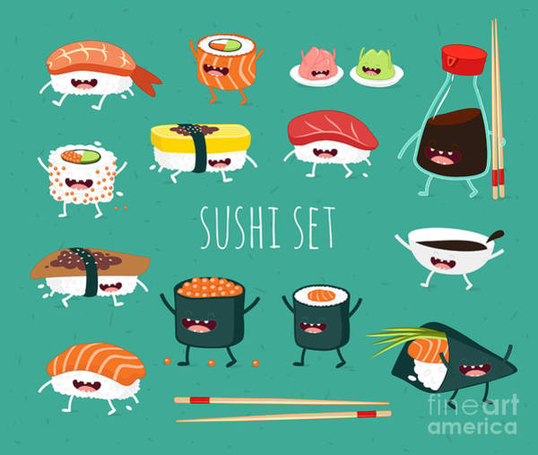 Wall Art - Digital Art - Sushi Set. Soy Sauce And Sushi Roll by Serbinka