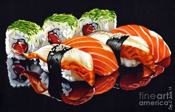 Marker Drawing - Sushi Time by Cory Still