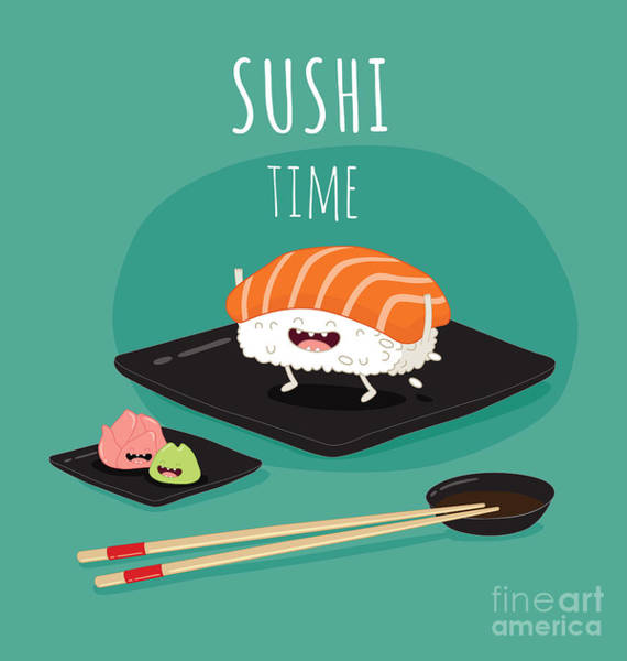 Wall Art - Digital Art - Sushi Time Poster.  Funny Sushi On A by Serbinka