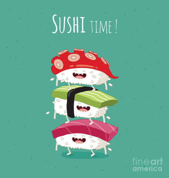 Wall Art - Digital Art - Sushi Time Poster. Vector Illustration by Serbinka