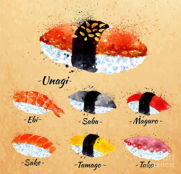 Raw Wall Art - Digital Art - Sushi Watercolor Set Hand Drawn With by Anna42f