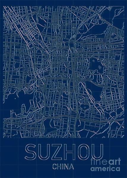 Digital Art - Suzhou Blueprint City Map by Helge