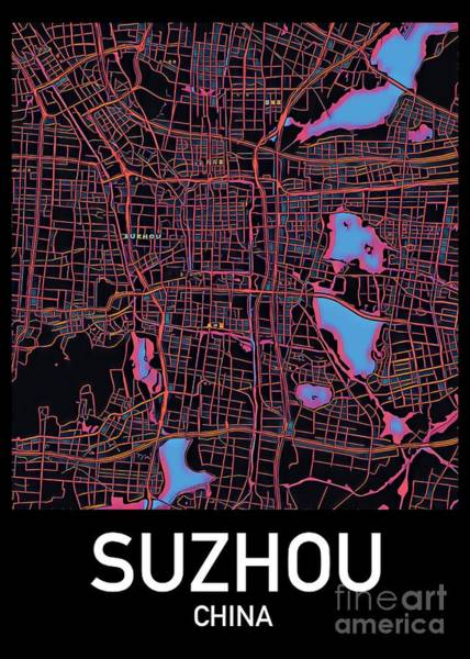Digital Art - Suzhou City Map by Helge