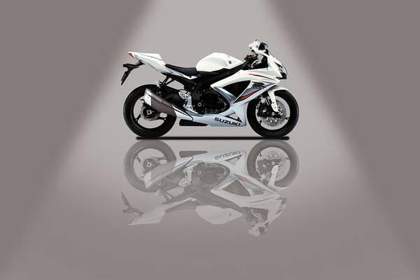 Wall Art - Mixed Media - Suzuki Gsx-r Grey Spotlight by Smart Aviation