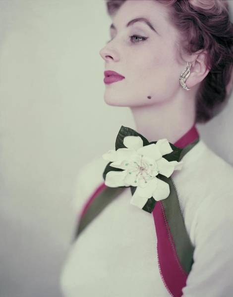 Flower Head Photograph - Suzy Parker In A Pringle Sweater by Horst P. Horst