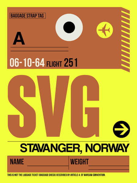 Wall Art - Digital Art - Svg Stavanger Luggage Tag I by Naxart Studio