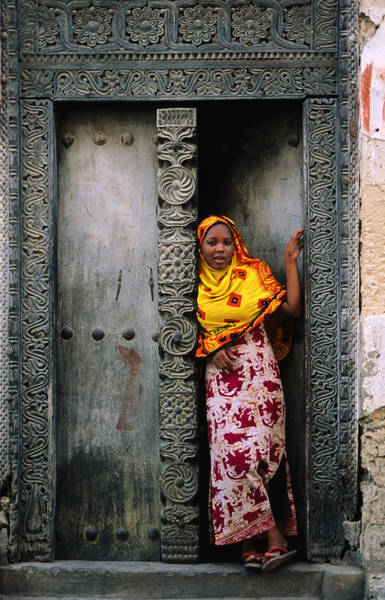 Headwear Photograph - Swahili Girl In Zanzibar Doorway by Ariadne Van Zandbergen